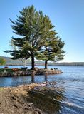 Public park on Lake Pleasant in Speculator, NY Royalty Free Stock Photos