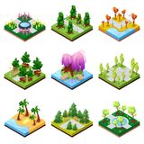 Public park landscapes isometric 3D set. Flower bed, sandy beach with palm trees, pool with water, lawn with green grass and decorative trees, park roads and Royalty Free Stock Photography