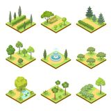 Public park landscapes isometric 3D set. Public park isometric 3D set. Flower bed, pool with water, lawn with green grass and decorative trees, park roads and Royalty Free Stock Photos