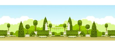 Public park panoramic. Vector illustration seamless pattern panoramic view of public praka with a hedge of topiary trees and a place for relaxation Stock Photos