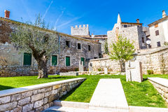 Public Park And Parish Church Tower-Bale,Croatia Royalty Free Stock Photography
