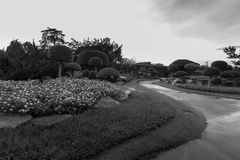 The public park. Is a black and white picture Royalty Free Stock Image