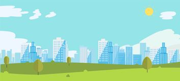 Public park with sky and city background. Beautiful nature scene with town and hill. Smmer with cityscape royalty free illustration