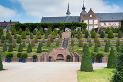 Public park with terrace garden near monastery Royalty Free Stock Images