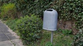 Public Park Trash Rubbish Garbage Bin Metal.  stock video