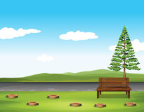 Public park with tree and bench Royalty Free Stock Images