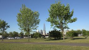 Public Park, Trees, Urban, Buildings Royalty Free Stock Images