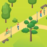 Public Park with Walking People Concept Card Poster. Vector. Public Park with Walking People Concept Card Poster Scene Element Web Design Style. Vector stock illustration