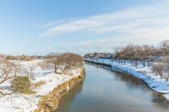 Public park with white snow. White snow against clear sky at public park ,Saitama,Japan Royalty Free Stock Image
