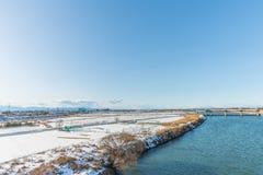 Public park with white snow. White snow against clear sky at public park ,Saitama,Japan Stock Image