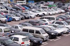 Public parking lot stock image