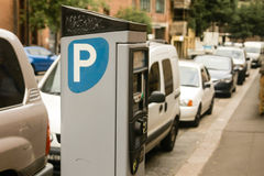 Public parking meter station on street. Car park ticket machine on public street Royalty Free Stock Photo