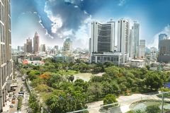 Public parks Sirikit in the metropolis of Bangkok. It is a place that gives shady to people in the capital Royalty Free Stock Photo