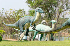 Public parks of statues and dinosaur Stock Image