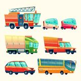 Public and urban passenger transport vector cartoon vehicle cars colorful isolated icons set. Public passenger transport cars and vehicles vector cartoon icons Royalty Free Stock Photos