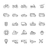 Public passenger transport line icons. Cars and vehicles set. Transportation and shipping outline symbols isolated. Vector scooter and trolleybus illustration Royalty Free Stock Images