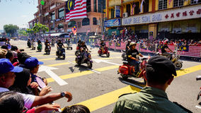 Motorcycles. Public peoples watching a convoy of motorcycles club at Malaysia national independance day Stock Photo
