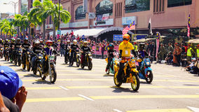 Motorcycles. Public peoples watching a convoy of motorcycles club at Malaysia national independance day Stock Photos