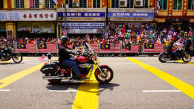 Motorcycles. Public peoples watching a convoy of motorcycles club at Malaysia national independance day Royalty Free Stock Photos
