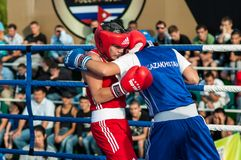 Public performance of girls boxing Royalty Free Stock Photos