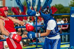Public performance of girls boxing Stock Photography