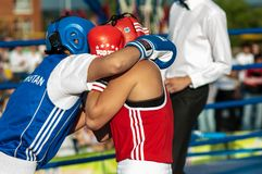 Public performance of girls boxing Royalty Free Stock Image