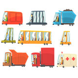 Public And Personal Transport Toy Cars And Trucks Set Of Childish Colorful Transportation Vehicles Stock Photo