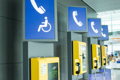 Public phone. In the airport Royalty Free Stock Images