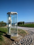 Public phone cabin by the sea Royalty Free Stock Photography