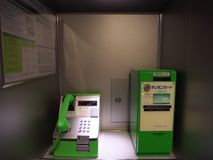 Public phone in a train. Kanagawa,Japan-May 2, 2018: Public phone installed in a train stock image