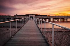Helsingborg pier at sunset Royalty Free Stock Photos