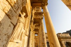 Public places A world heritage ephesus library in the historic city of Turkey.  stock photo