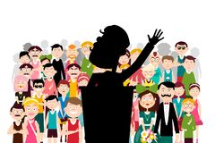Public Political Meeting. Famous Man Speaking at Business Conference. Vector Speaker and Audience. Public Political Meeting. Famous Man Speaking at Business stock illustration