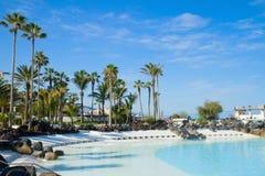 Public pools at  Puerto Cruz, Tenerife, Spain Royalty Free Stock Photos