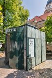 BERLIN, GERMANY - JULY 14,2018: Public portable city toilette. Wall GmbH is the German company providing street furniture. Berlin. Public portable city toilette royalty free stock photos
