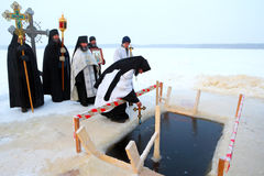 Public prayer on an orthodox holiday of the Epiphany Royalty Free Stock Image