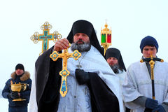 Public prayer on an orthodox holiday of the Epiphany Royalty Free Stock Photography