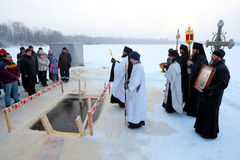 Public prayer on an orthodox holiday of the Epiphany Royalty Free Stock Photos