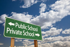 Public or Private School Green Road Sign Over Sky Stock Photos