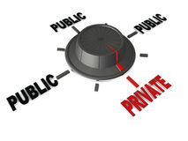 Public and private. Switching to private from public options, concept of going private and saving information from prying eyes Royalty Free Stock Photos