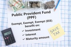 Public Provident Fund an Indian Investment Scheme with Triple Exempt Benefit. Public provident fund, PPF, a Government of India investment scheme, with triple royalty free stock image