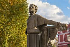 SAMARA, RUSSIA - OCTOBER 12, 2016: A concrete monument to the famous Russian poet and writer Alexander Pushkin. In the public Pushkin Square. The sculpture was royalty free stock images