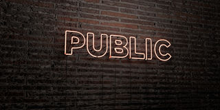 PUBLIC -Realistic Neon Sign on Brick Wall background - 3D rendered royalty free stock image. Can be used for online banner ads and direct mailers vector illustration