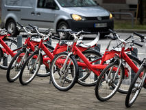 Public red shared bicycles in Hamburg,  Germany Royalty Free Stock Images