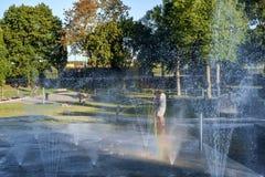 Public refreshing fountain stock image