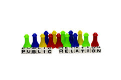 Public Relation. Concept of public relationship with items and text stock photography
