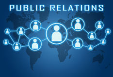 Public Relations. Concept on blue background with world map and social icons Stock Photos