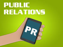PUBLIC RELATIONS concept. 3D illustration of PR script on the screen of a cellulr phone held by hand, isolated on green gradient, with the script PUBLIC Stock Photos