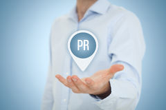 Public relations PR. Public relations (PR) concept. Businessman offer PR agency services Stock Image