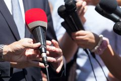 Public relations - PR. Media interview. Press interview. Broadcast journalism. News conference Royalty Free Stock Photography